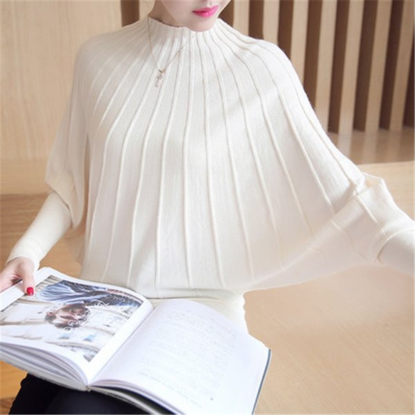 Sweater women clothes 2018 Fashion Autumn Winter Women Knitted Sweaters and Pullovers Batwing Sleeve Long Knitwear Femme ZY4250