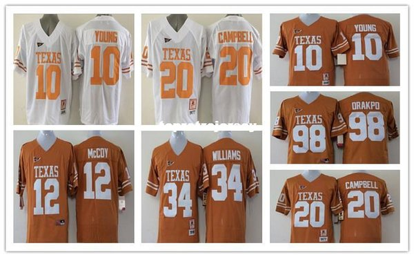 Factory Outlet-Texans 10 Vince Young 20 Earl Campbell 98 Brian Orakpo 34 Ricky Williams 12 Colt McCoy NCAA College Football Jersey cucita