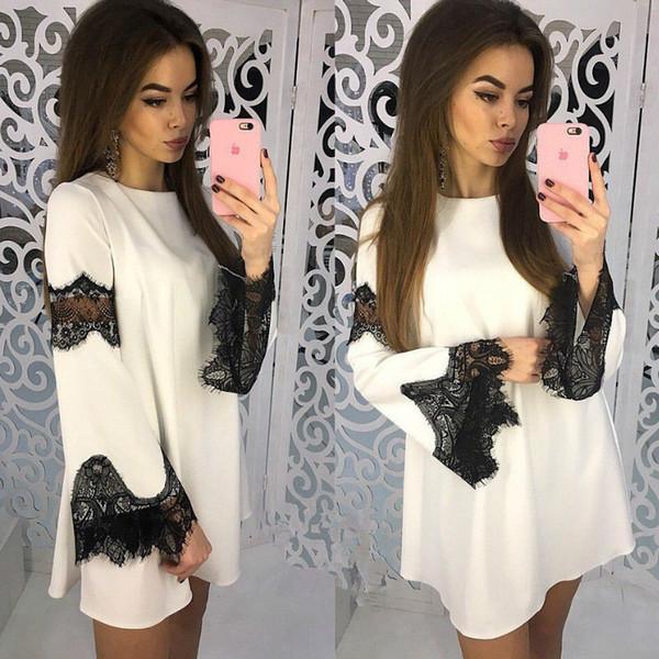 Rahat Dantel Parlama Kol Elbise Yaz Kadın Seksi A-Line Elbise Elbise Dantel Patchwork Mini Parti Elbiseler Femme Artı Boyutu GV533
