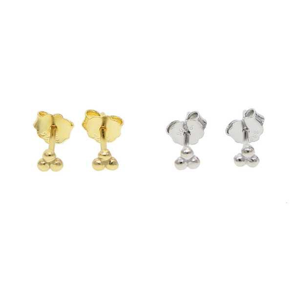3mm tiny triangle earring for girl women 925 sterling silver minimal minimalist delicate danity simple ear stud jewelry