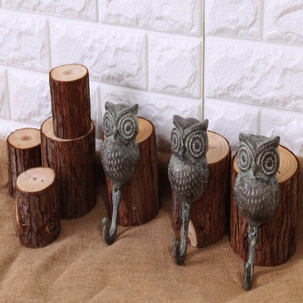 Vintage Owl Shape Wrought Iron Imitation Old Clothes Hook Wall Clasp Creative Garden Hanger Engraving Holder Decoration 2pcs/Set