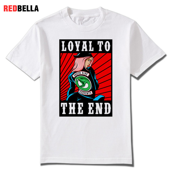 REDBELLA 2018 100% Cotton Biker and Veronica Riverdale T-shirt Archie Family Snake Topaz Tees Loyalty Serpents Homme Tshirt Hot