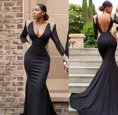 2k18 Black Girls Couple Fashion Merrmaid Prom Dresses Open Back with Gold Appliques Long Sleeves Dubai Arabic Occasion Evening Wear Gowns