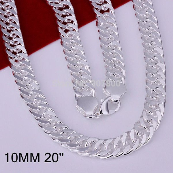 N039 Fashion Men's Jewelry plated Silver chain necklace sideways 10MMX20inches 5pcs/lot