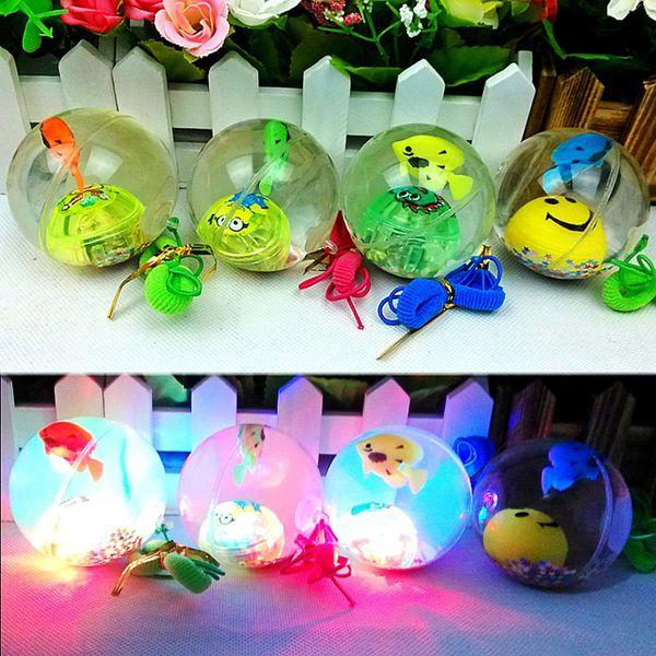 5.5cm Flashing Luminous Ball transparent with rope Rubber Bouncing Ball Toy Light Anti Stress Fun Toy Children kids christmas Gift FFA1275