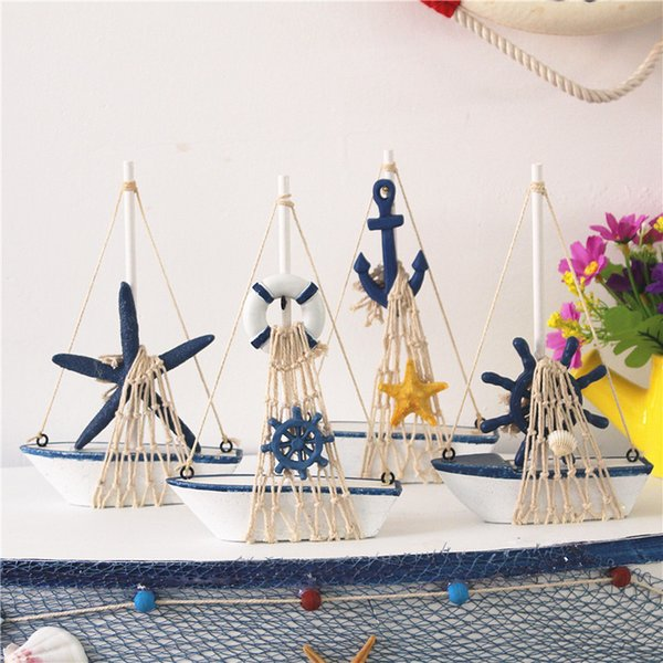 Wooden Sailboat Model Home Decoration Antique Imitation Handmade Sailing Boat Mediterranean Style Arts And Crafts Home Decoration