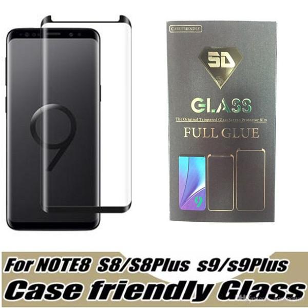 2018 Case Friendly Verre Trempé Pour Samsung Galaxy S9 Note 8 Note8 S8 Plus S7 Bord 3d Courbe Case Version Full Colle Téléphone Protecteur D'écran