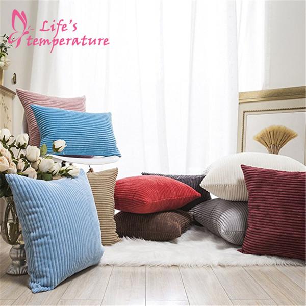 Commercio all'ingrosso Autunno Decor Pillow Covers Morbido Decorativo A Velluto A Coste Velluto Piazza Cuscino Cuscino Divano Covers Set per Divano