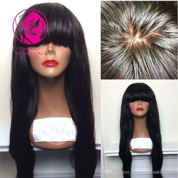 Fantasy Silk Straight Lace Front Human Hair Wigs With Bangs 13*4 Brazilian Remy Front Lace Wig For Black Women Pre Plucked