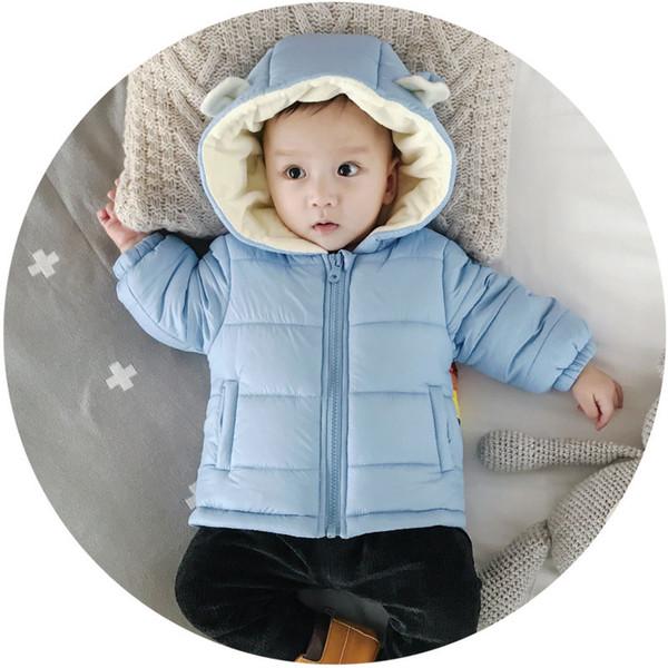 Bebek yürüyor çocuk bebek yenidoğan ceket sıcak kalınlaşmak parka gökkuşağı kukuletalı kürk kış giyim ceket içinde 0-3 6 9 12 ay pembe