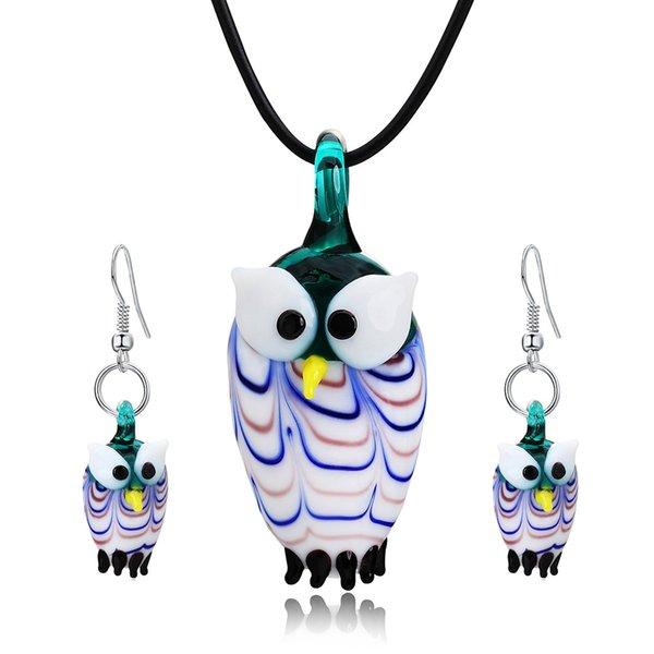 Cute Animal Owl Blue Glass Drop Earrings Fun Pendant Necklace For Fashion Women Girls Cocktail Party Jewelry Gift Set