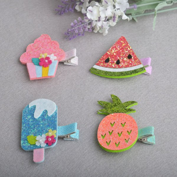 Glitter Cartoon Ice Cream Pineapple Watermelon Hairpins Fruit Slice Girls Hair Accessories Children Headwear Baby Hair Clips Headdress