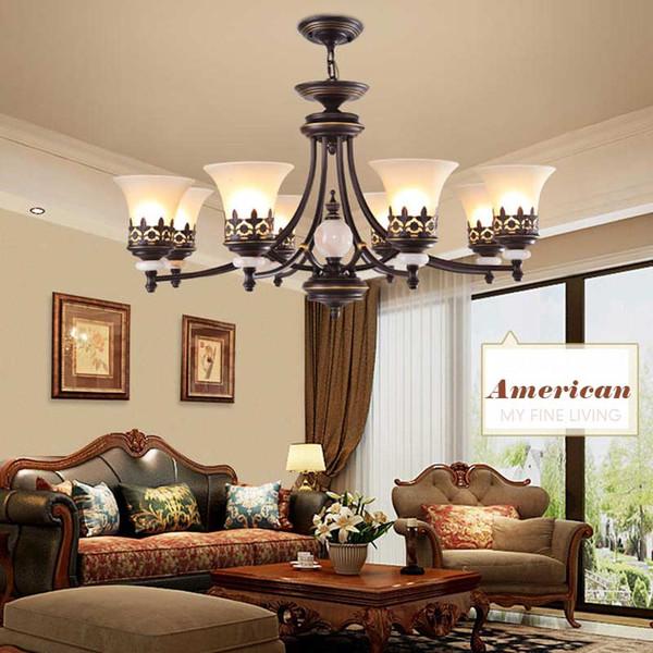 Acquista American Vintage Lampadari Soggiorno Decorazione Casa  Illuminazione E27 Lampada A Led Nero In Ferro Battuto Paralume In Vetro  Bianco A ...