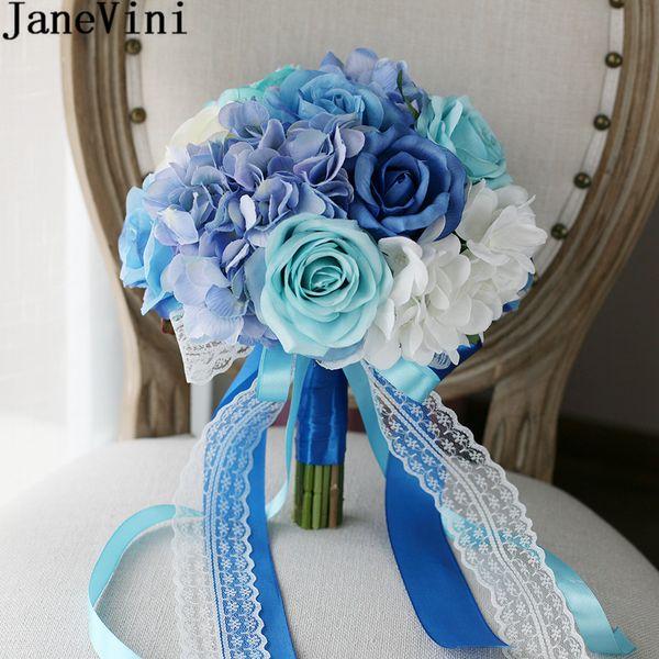 JaneVini Artificial Rose Flowers Bridal Bouquet For Beach Wedding Flower Bouquet Silk Blue White Lace Ribbon Handle Wedding Bouquet Brooch