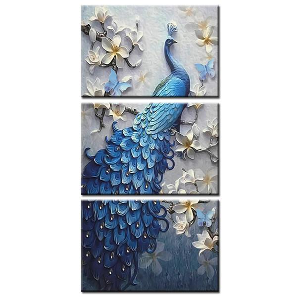 3 unidades Enmarcado Arte de la pared Imagen de regalo Decoración del hogar Impresión en lienzo de pintura abstracta hermosa serie Peacock al por mayor /
