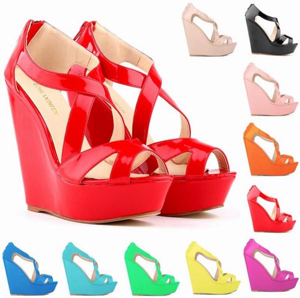 Neue elegante Damen Plattform Peep Toe High Heels Wedge Schuhe Sandalen Größe; 35-42 # 391-10