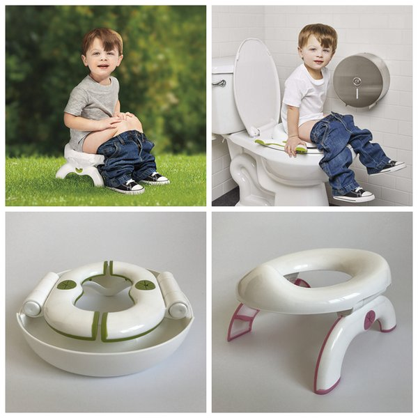 Kids 2 In 1 Foldable Toilet Seat Infant Chamber Pots Travel Potty Seat Soft Kids Trainers Folding Travel Potty Rings Chair AAA1315
