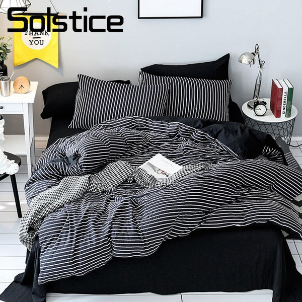 Solstice Home Textile Black White Stripe Bedding Set Girl Teen Boys Bedclothes Duvet Cover Pillowcase Bed Sheet King Twin 3-4Pcs