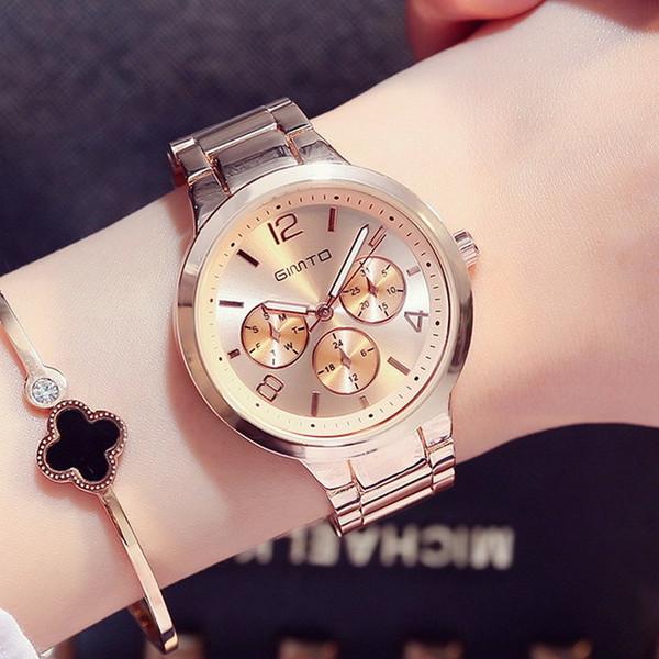 2caeab57bb2 2017 GIMTO Marca Moda Señoras de Las Mujeres Relojes Casual Reloj de Cuarzo  de Oro Rosa