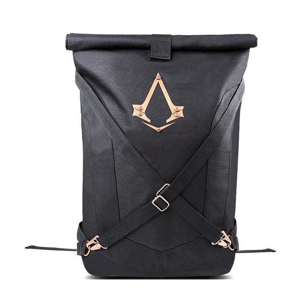 New Official Assassins Creed Syndicate Logo Black Folded Backpack BagBlack bqck pack Universal backpack for men and women
