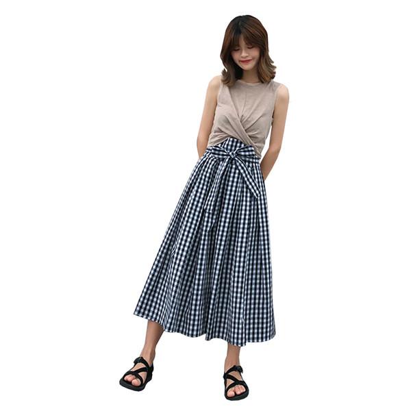 Fashion Womens Two Piece Set Summer Short Tinta unita Vest + Plaid Vita alta Gonna lunga Imposta Chic Bow Tie Lace Up Abiti casual
