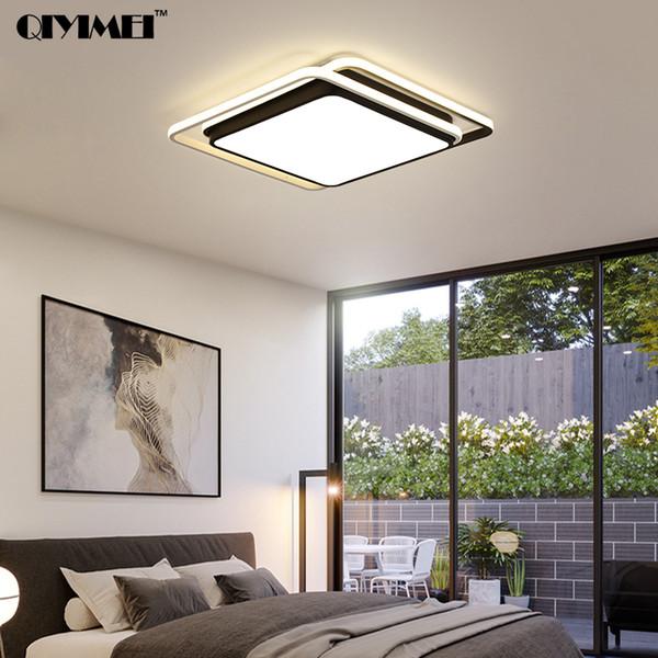 Großhandel Lüster De Plafond Moderne LED Deckenleuchten Wohnzimmer  Schlafzimmer Leuchte Plafonnier Weiß Schwarz Square LED Deckenleuchte Von  ...