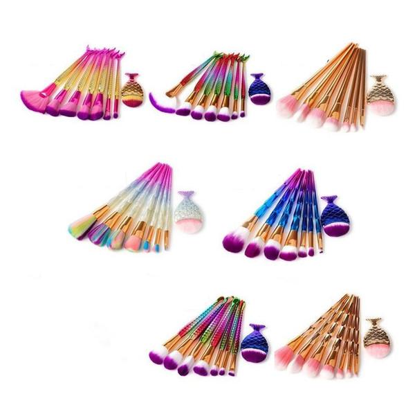 New Mermaid 8pcs Rainbow Makeup Brushes Set Diamond Big Fish Tail Cosmetics Foundation Brush Beauty Tools Multipurpose Makeup Brushes Kit