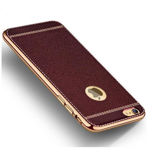 new type ultrathin Luxury Litchi Grain Electroplating Plating Soft TPU Leather Silicone Shockproof Back Cover Case For iPhone X 5/5s 6 6s 7