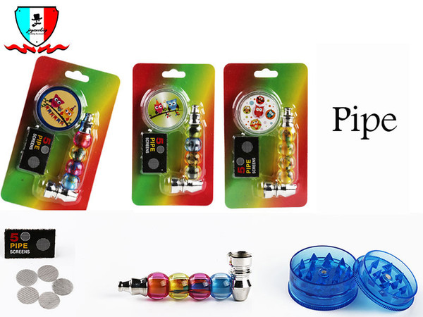 Metal Smoking Pipe And Plastic Herb Grinder Kit Set Small Pocket Size Pipe Bubble Pipe With 5 Assorted Screens