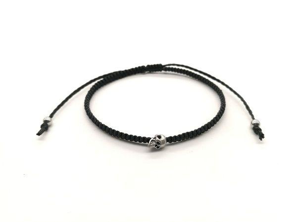 Simple Fashion Bracelets Men Women Handmade Braided Black Rope Chain Silver/Gold Skull Head Bracelet Demon868
