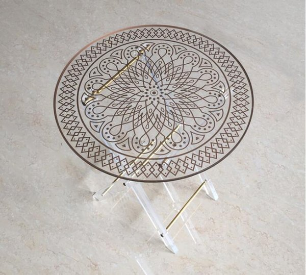 Modern small round acrylic clear lucite coffee table