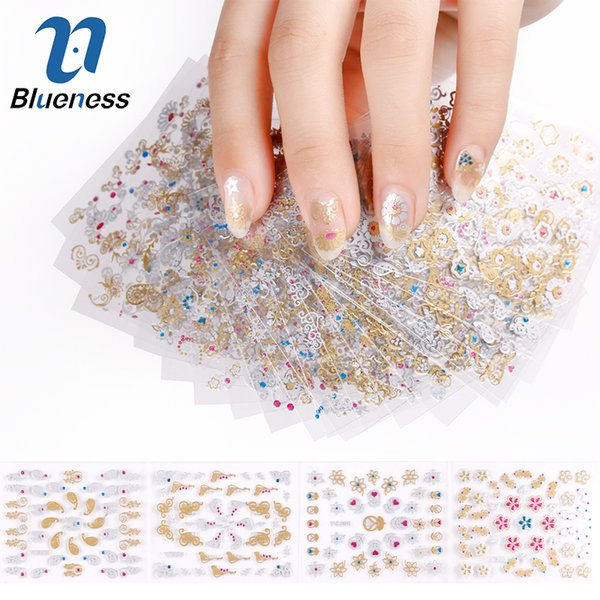 Blueness 24 Pcs/Lot Gold Colorful Glitter Beauty Flowers Design DIY 3D Nail Stickers Manicure Decorations For Nails Art JH168
