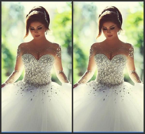 Said Mhamad Custom Made New Arrival Sexy Vestidos De Novia Long Train Weddings & Events Ball Gown Wedding Dress Bridal Gown 2019