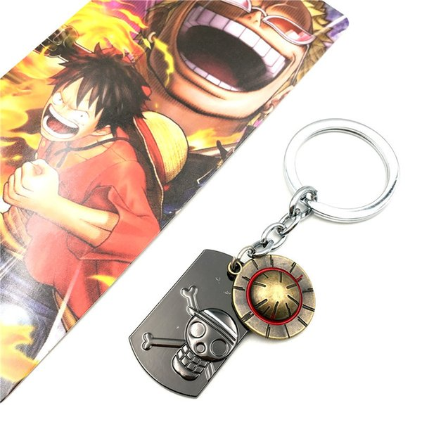 Hot Anime Series One Piece Keychain Luffy Straw Hat Skull Key Chain Alloy Key Ring Holder For Fans Souvenir Gifts