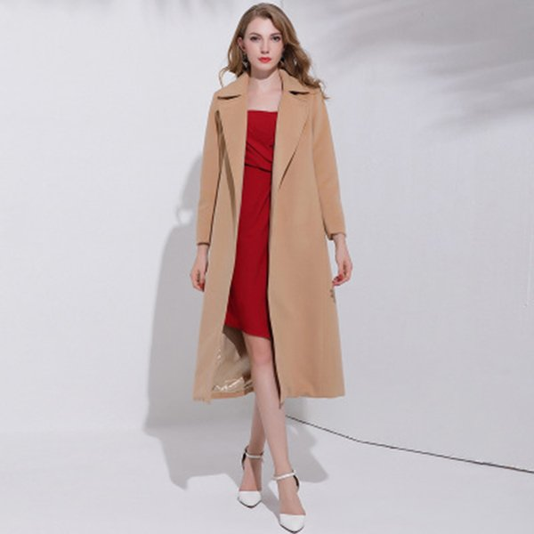 Envío gratis Otoño CALIENTE Moda Camel Color Mujer Casual Abrigo de invierno Trench Coat Abrigo Chaqueta larga