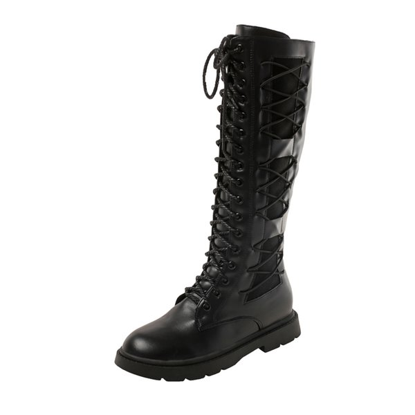 Women Mid-Calf Flock Boots Autumn Winter Low Heel Short Plush Rubber Black Lace-UP Shoes For Ladies Buckle Lace-up Studets'