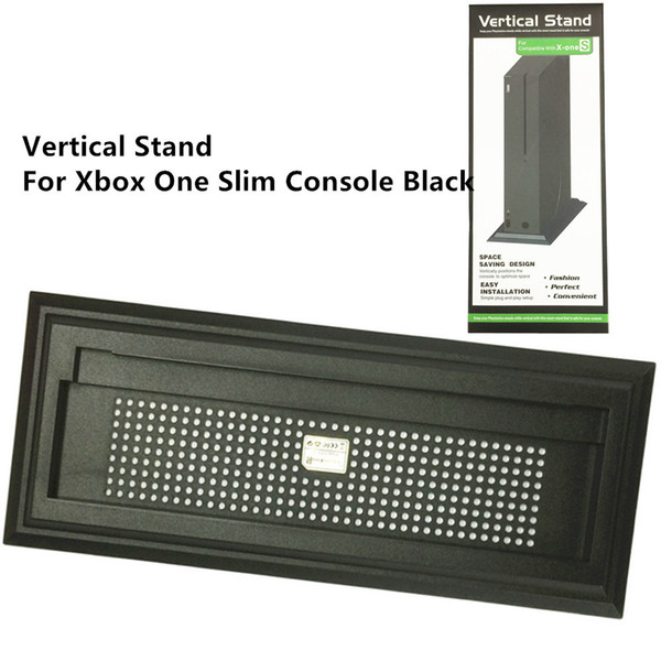 Free shipping Vertical Stand Mount Dock Holder Base for Xbox One S Slim Black Console with Gift Box Package Available in stock