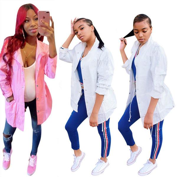 Kadın marka tasarımcısı ceket baskı mektup uzun giyim yaka boyun rüzgar ceket Rüzgarlık trendy Trençkot streetwear toz coat