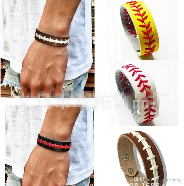 Швы кожаные браслеты елочка софтбол быстрый шаг Бейсбол стежка манжеты браслеты модные аксессуары унисекс подарок LDH90