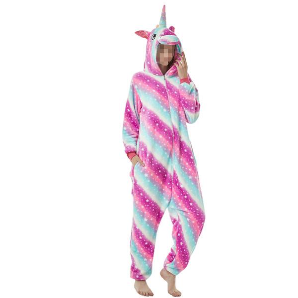 Adult Unisex Flannel Unicorn Animal Onesies Pajamas Onepiece Jumpsuit