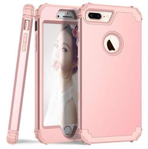 For iPhone 8 7 Plus Phone Cases Hard PC+Soft Silicone 3-Layers Hybrid Full-Body Protect Popular Phone Shells for iPhone 6 6S 7Plus X Covers