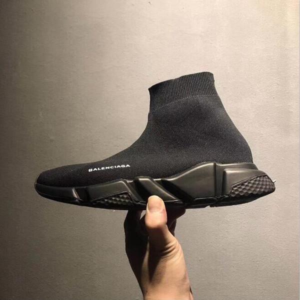 2019 Marka Tasarımcı Ayakkabı Hız Eğitmen Siyah Kırmızı Porter Üçlü Siyah Düz Moda Çorap Çizmeler Sneaker Hız Eğitmeni Çorap Lüks Koşucu