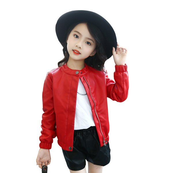 classical girl leather jacket solid lady style European jacket leather coat for 3-10years girls kids children cool outerwear clothing