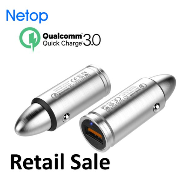Retail Sale Netop Qualcomm Quick Charger QC 3.0 Car Charger Metal Stainless Steel 304 Bullet Car Charger Fast USB Port Free DHL