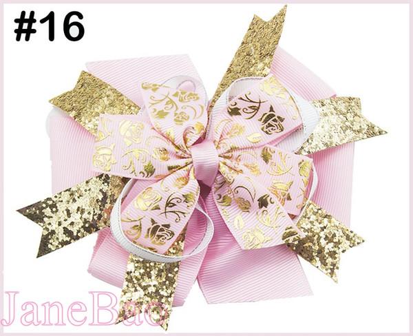 free shipping 300pcs 5'' glitter layered hair bows popular shinne girl big bows with glitter ribbon