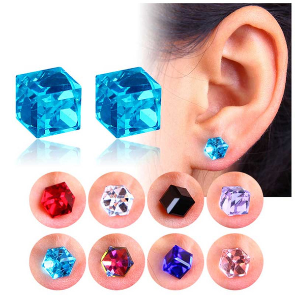 best selling No Hole Earrings Crystal Cubic Zirconia Cube Magnet Stud Earrings Fashion Jewelry for Women Men Will and Sandy Drop Ship 350088
