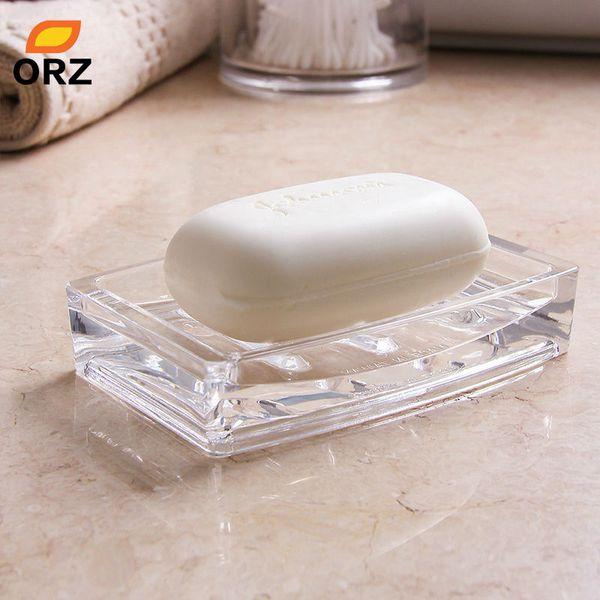 Orz Acrylic Soap Dishes Bathroom Kitchen Elegant Holder Face Soap Box Storage Rack Base Bathroom Bath Kitchen Organizer