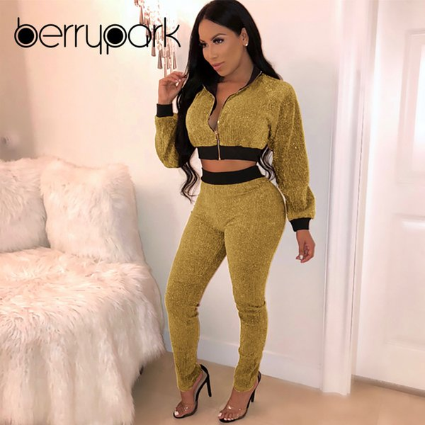BerryPark Gold Velvet Tracksuit 2019 New Winter Women Warm Velour Sport Wear Jacket and Pants Exercise Sets Sportsuit Sportswear