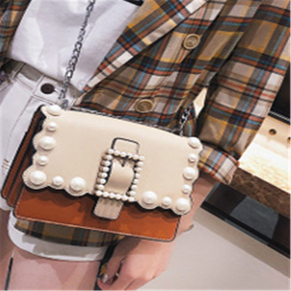 01 Han Guodong New Door Style New Wave Bag Pearl Small Square Bag Fashion Trend, Single Shoulder Shoulder Bag Ins Super Fire Girl