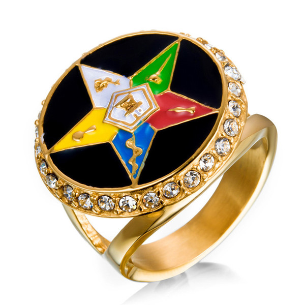 Gold 316 Stainless steel Religious OES Eastern Star Ladies rings Masonic ring items for Women With Crystal stones